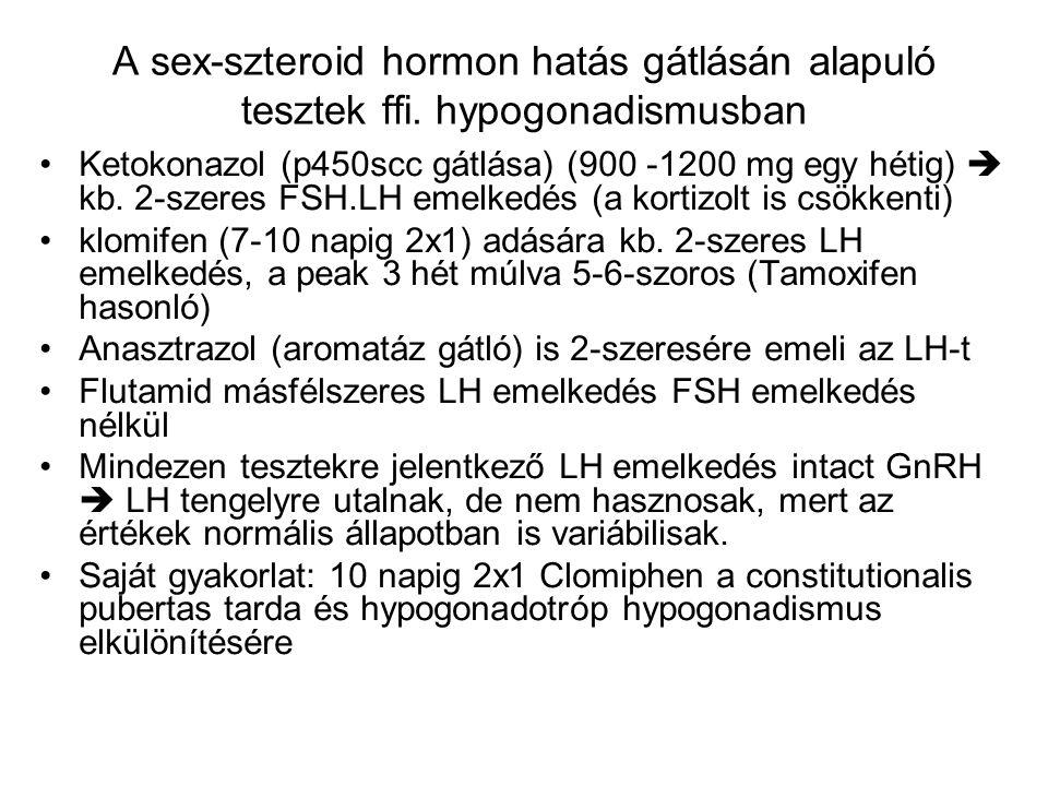 A sex-szteroid hormon hatás gátlásán alapuló tesztek ffi. hypogonadismusban Ketokonazol (p450scc gátlása) (900 -1200 mg egy hétig)  kb. 2-szeres FSH.