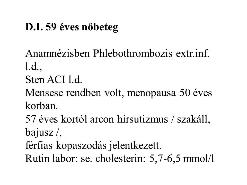 D.I. 59 éves nőbeteg Anamnézisben Phlebothrombozis extr.inf. l.d., Sten ACI l.d. Mensese rendben volt, menopausa 50 éves korban. 57 éves kortól arcon