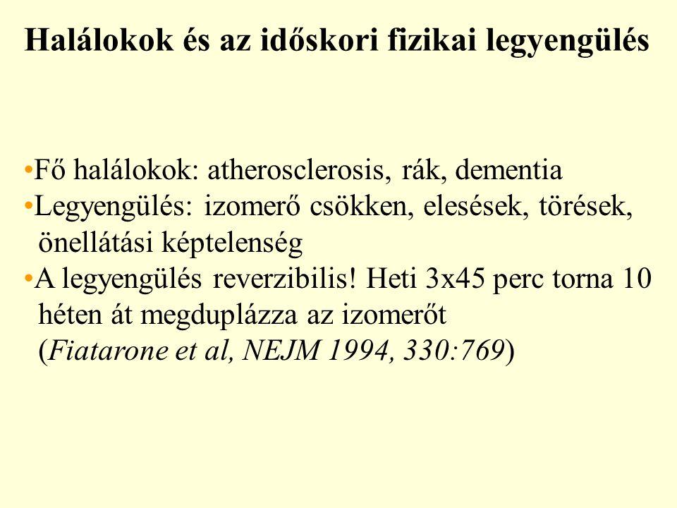 Halálokok és az időskori fizikai legyengülés Fő halálokok: atherosclerosis, rák, dementia Legyengülés: izomerő csökken, elesések, törések, önellátási képtelenség A legyengülés reverzibilis.