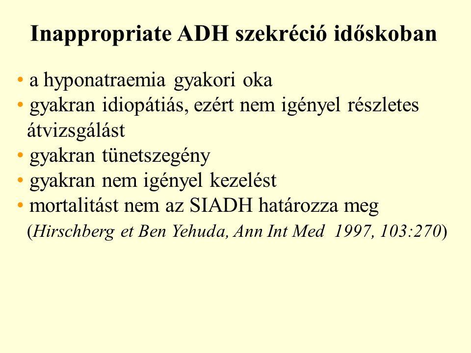 Inappropriate ADH szekréció időskoban a hyponatraemia gyakori oka gyakran idiopátiás, ezért nem igényel részletes átvizsgálást gyakran tünetszegény gyakran nem igényel kezelést mortalitást nem az SIADH határozza meg (Hirschberg et Ben Yehuda, Ann Int Med 1997, 103:270)