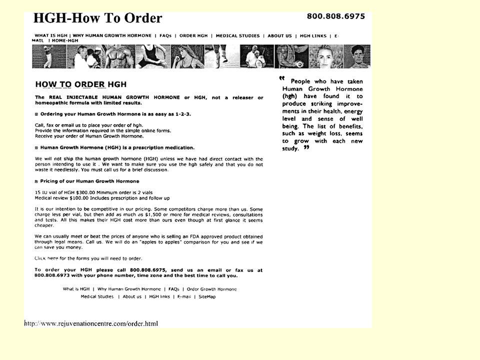 """Számos WEB oldalon hirdetnek hGH-t Általában feltüntetik: """"FDA approved product ."""