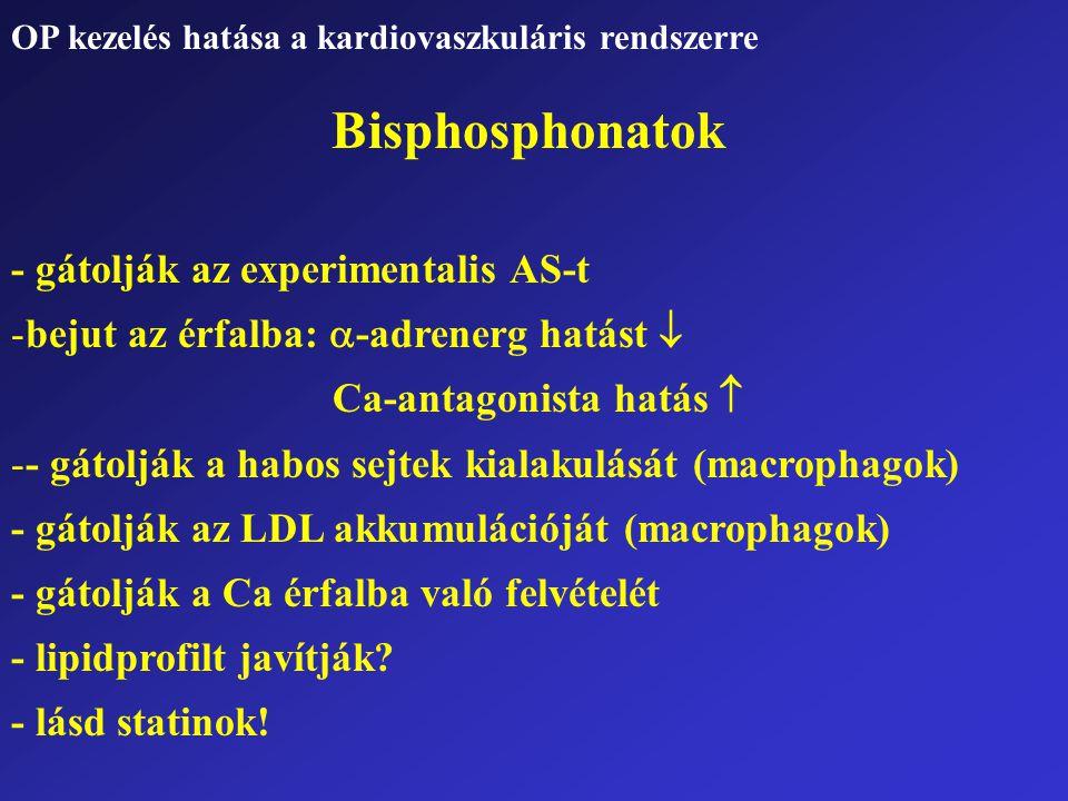 Bisphosphonatok - gátolják az experimentalis AS-t -bejut az érfalba:  -adrenerg hatást  Ca-antagonista hatás  -- gátolják a habos sejtek kialakulás