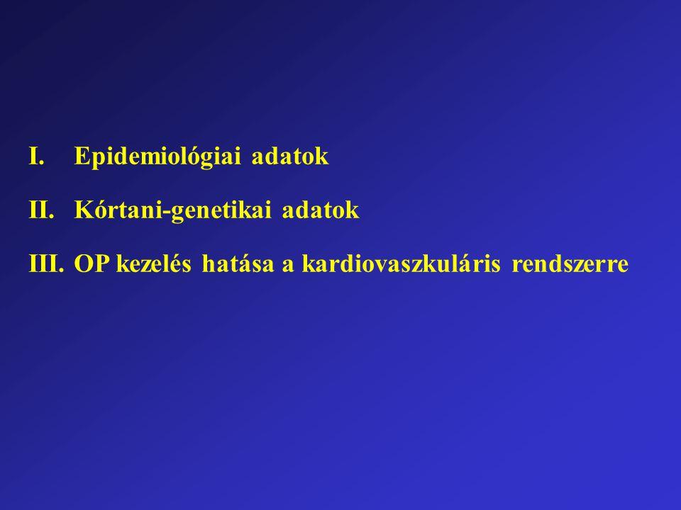 I.Epidemiológiai adatok II.Kórtani-genetikai adatok III.OP kezelés hatása a kardiovaszkuláris rendszerre