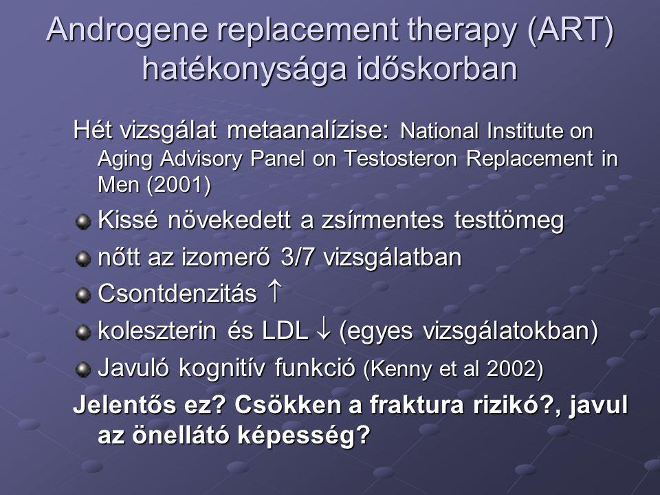 Androgene replacement therapy (ART) hatékonysága időskorban Hét vizsgálat metaanalízise: National Institute on Aging Advisory Panel on Testosteron Rep