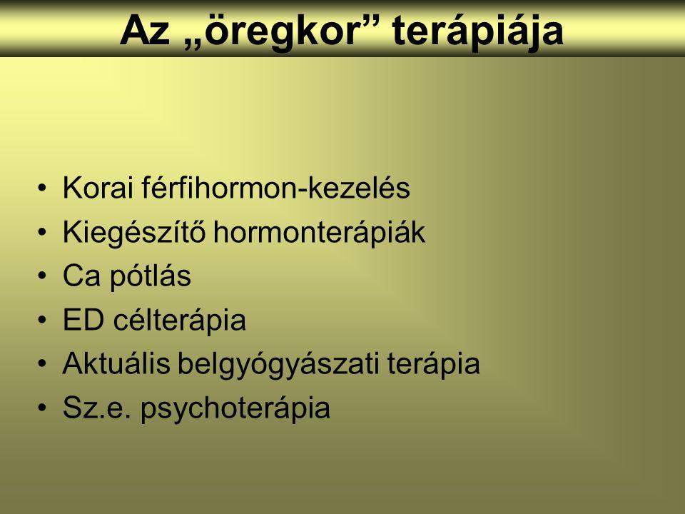 Korai férfihormon-kezelés Kiegészítő hormonterápiák Ca pótlás ED célterápia Aktuális belgyógyászati terápia Sz.e.