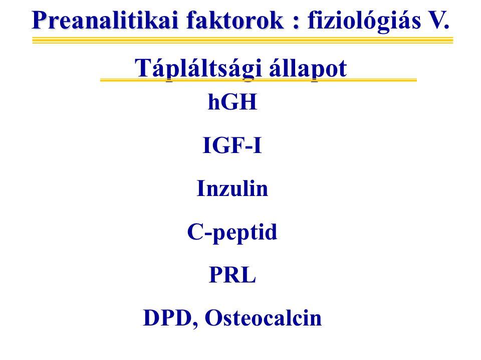 hGH IGF-I Inzulin C-peptid PRL DPD, Osteocalcin Preanalitikai faktorok : Preanalitikai faktorok : fiziológiás V.