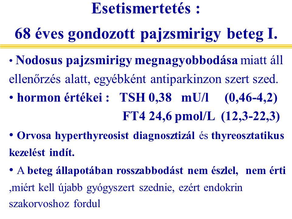 Nodosus pajzsmirigy megnagyobbodása miatt áll ellenőrzés alatt, egyébként antiparkinzon szert szed. hormon értékei : TSH 0,38 mU/l (0,46-4,2) FT4 24,6