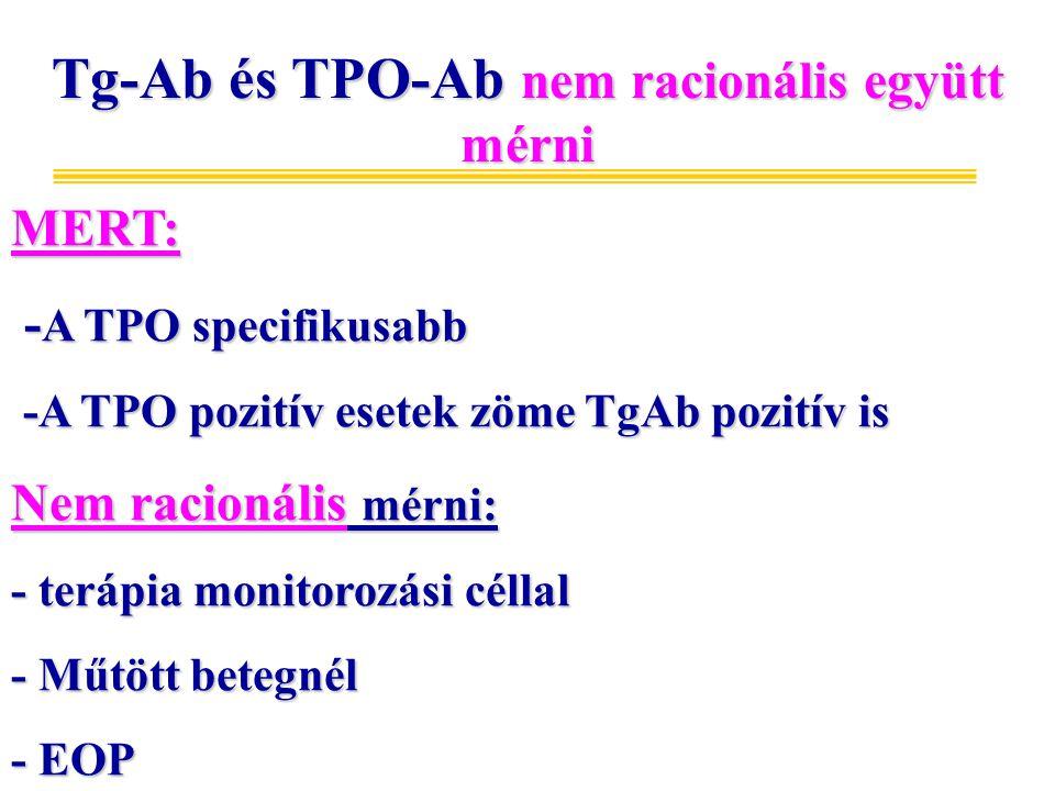 Tg-Ab és TPO-Ab nem racionális együtt mérni MERT: - A TPO specifikusabb - A TPO specifikusabb -A TPO pozitív esetek zöme TgAb pozitív is -A TPO pozitív esetek zöme TgAb pozitív is Nem racionális mérni: - terápia monitorozási céllal - Műtött betegnél - EOP