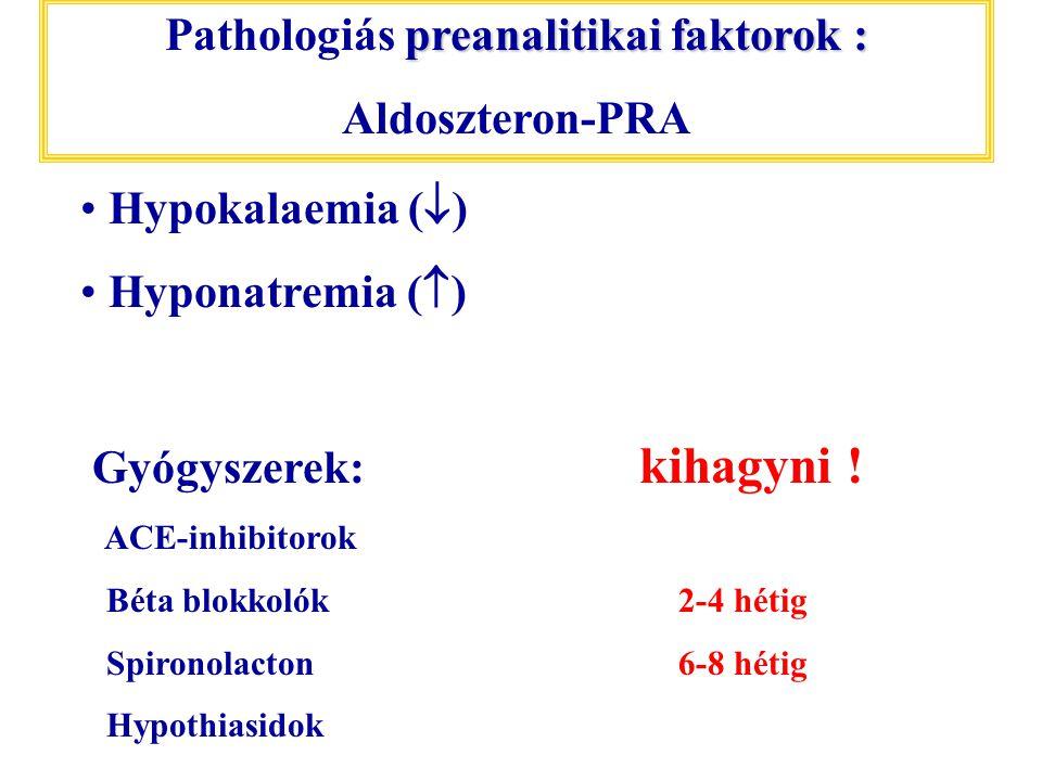 preanalitikai faktorok : Pathologiás preanalitikai faktorok : Aldoszteron-PRA Hypokalaemia (  ) Hyponatremia (  ) Gyógyszerek: kihagyni ! ACE-inhibi