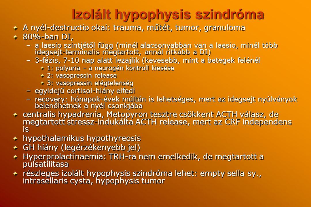 Izolált hypophysis szindróma A nyél-destructio okai: trauma, műtét, tumor, granuloma 80%-ban DI, –a laesio szintjétől függ (minél alacsonyabban van a