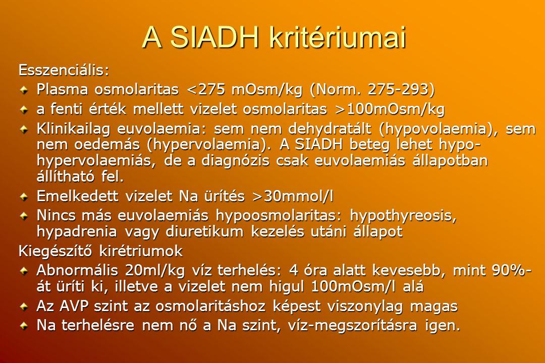 A SIADH kritériumai Esszenciális: Plasma osmolaritas <275 mOsm/kg (Norm. 275-293) a fenti érték mellett vizelet osmolaritas >100mOsm/kg Klinikailag eu