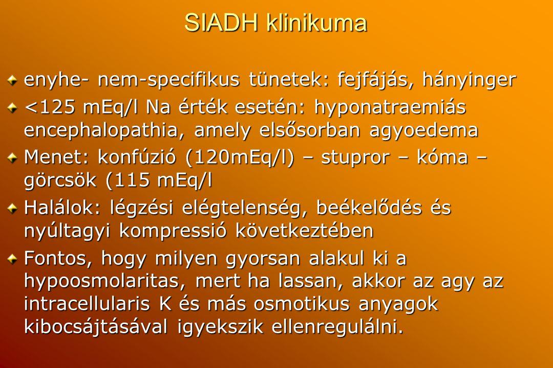 SIADH klinikuma enyhe- nem-specifikus tünetek: fejfájás, hányinger <125 mEq/l Na érték esetén: hyponatraemiás encephalopathia, amely elsősorban agyoed