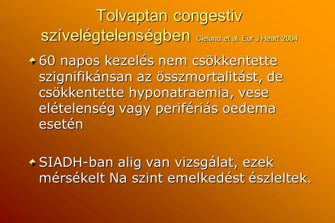 Tolvaptan congestiv szívelégtelenségben Cleland et al. Eur J Heart 2004 60 napos kezelés nem csökkentette szignifikánsan az összmortalitást, de csökke