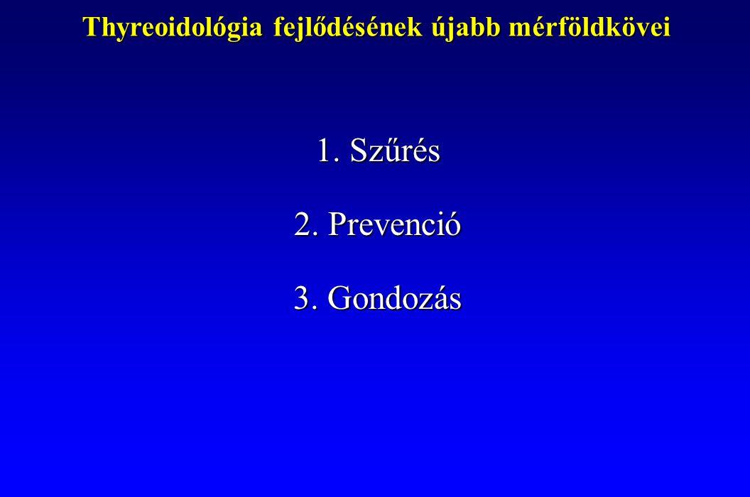 Thyreoidológia fejlődésének újabb mérföldkövei 1.Szűrés 2.Prevenció 3.Gondozás