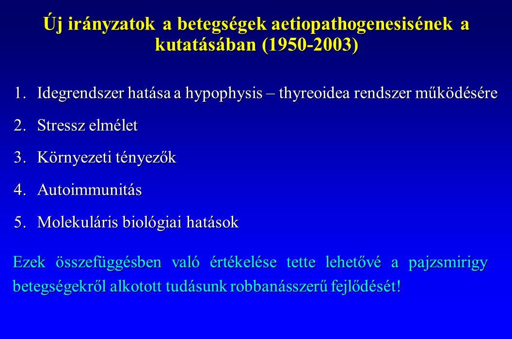 Új irányzatok a betegségek aetiopathogenesisének a kutatásában (1950-2003) 1.Idegrendszer hatása a hypophysis – thyreoidea rendszer működésére 2.Stres
