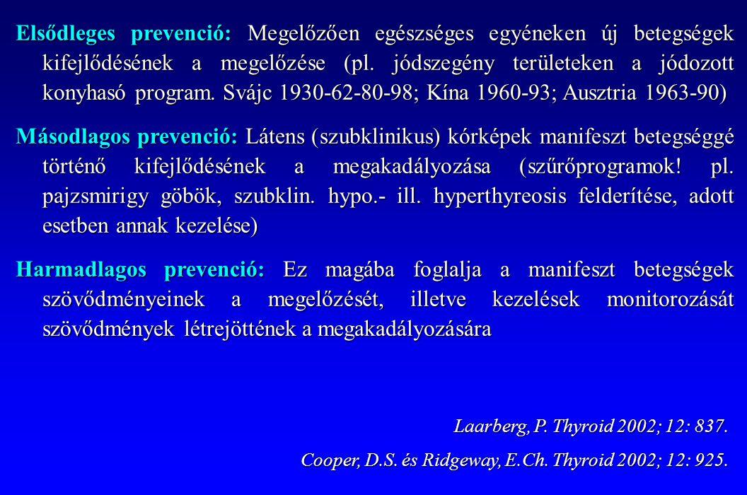 Elsődleges prevenció: Megelőzően egészséges egyéneken új betegségek kifejlődésének a megelőzése (pl. jódszegény területeken a jódozott konyhasó progra