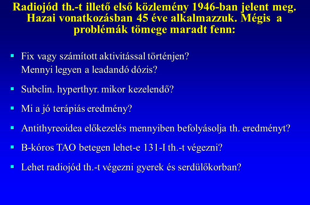 Radiojód th.-t illető első közlemény 1946-ban jelent meg. Hazai vonatkozásban 45 éve alkalmazzuk. Mégis a problémák tömege maradt fenn:  Fix vagy szá