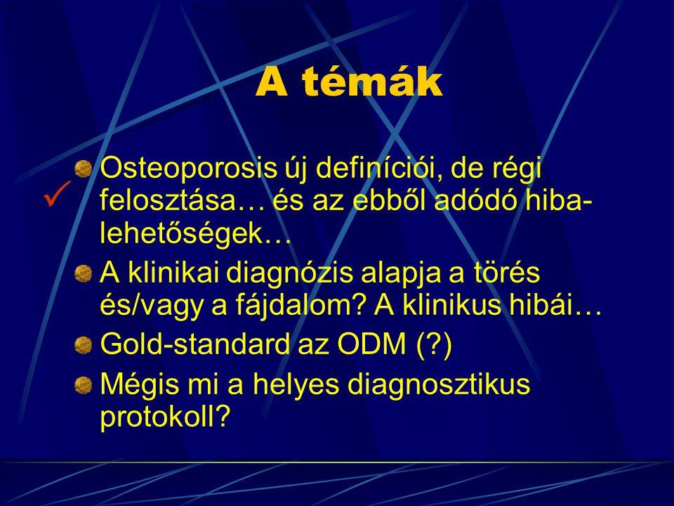 Diagnózis: kórtörténet rizikó-tényezők felismerése jelek és tünetek (szimptómák) fizikális vizsgálat Bone Mineral Density (BMD) mérés (ODM) (testmagasság-mérés) rutin és csak indokolt esetekben (diff.dg.) specifikus laboratóriumi vizsgálat(ok) röntgenológiai vizsgálat (szövődmények és diff.