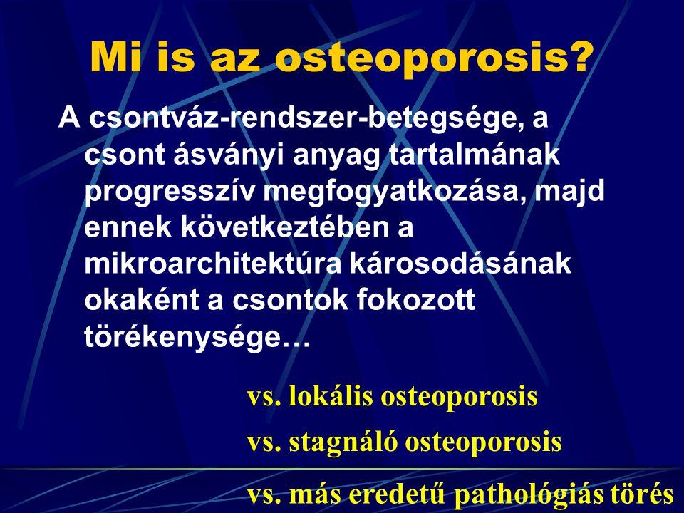 'WHO' (1994) ajánlása szerint T-score Normal 0- -1 SD Osteopenia –1-2.5 SD Osteoporosis > -2.5 SD Súlyos osteoporosis – osteoporosis+fractura Mi is az osteoporosis.