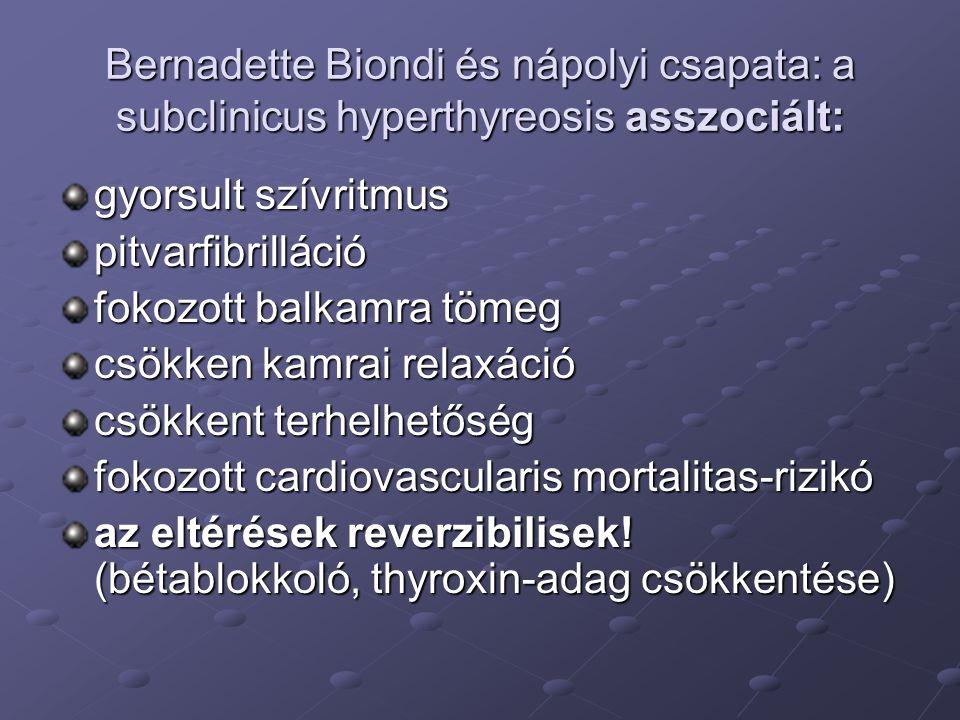 Bernadette Biondi és nápolyi csapata: a subclinicus hyperthyreosis asszociált: gyorsult szívritmus pitvarfibrilláció fokozott balkamra tömeg csökken k