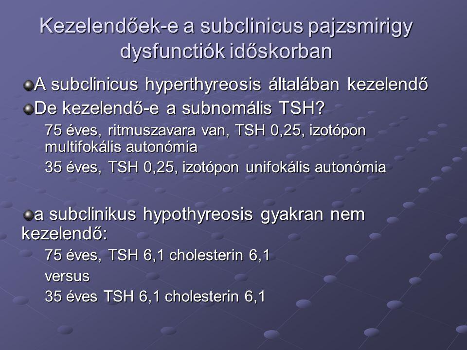Kezelendőek-e a subclinicus pajzsmirigy dysfunctiók időskorban A subclinicus hyperthyreosis általában kezelendő De kezelendő-e a subnomális TSH? 75 év