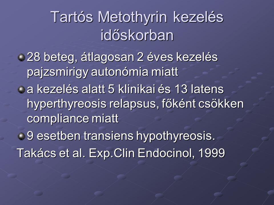 Tartós Metothyrin kezelés időskorban 28 beteg, átlagosan 2 éves kezelés pajzsmirigy autonómia miatt a kezelés alatt 5 klinikai és 13 latens hyperthyre