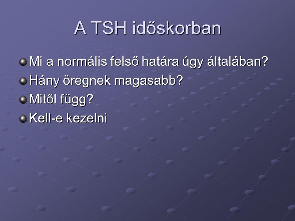 A TSH időskorban Mi a normális felső határa úgy általában? Hány öregnek magasabb? Mitől függ? Kell-e kezelni
