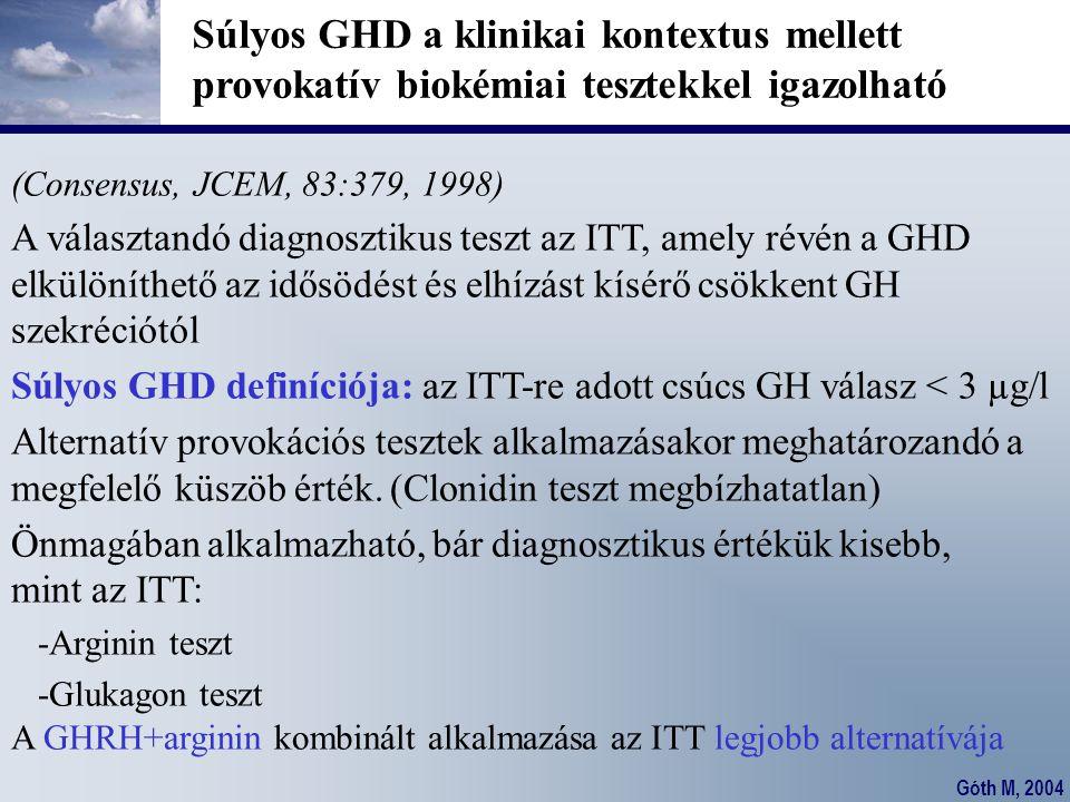 Góth M, 2004 Súlyos GHD a klinikai kontextus mellett provokatív biokémiai tesztekkel igazolható (Consensus, JCEM, 83:379, 1998) A választandó diagnosz