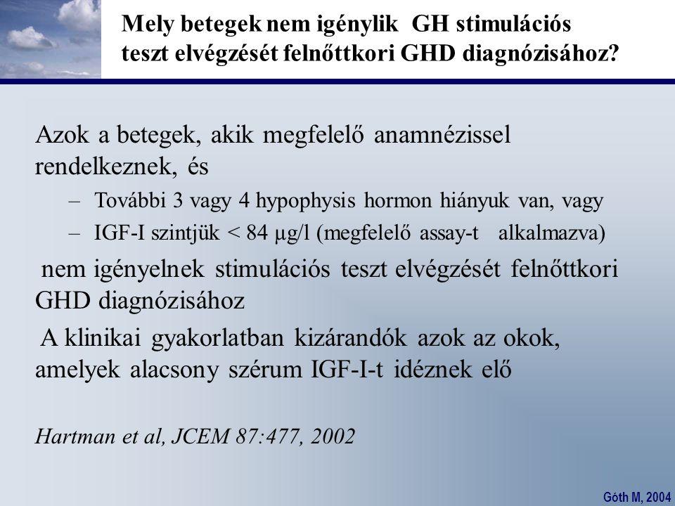 Góth M, 2004 Mely betegek nem igénylik GH stimulációs teszt elvégzését felnőttkori GHD diagnózisához? Azok a betegek, akik megfelelő anamnézissel rend