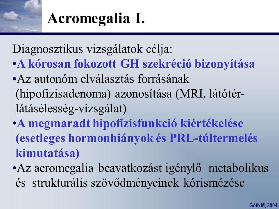 Góth M, 2004 Acromegalia I. Diagnosztikus vizsgálatok célja: A kórosan fokozott GH szekréció bizonyítása Az autonóm elválasztás forrásának (hipofízisa