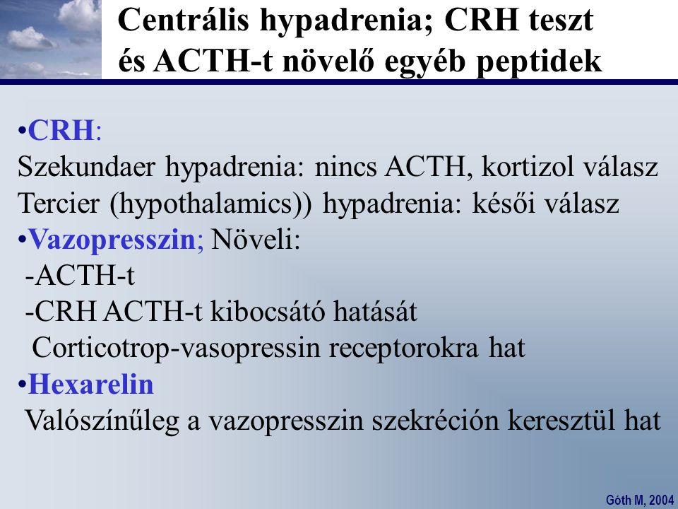 Góth M, 2004 Centrális hypadrenia; CRH teszt és ACTH-t növelő egyéb peptidek CRH: Szekundaer hypadrenia: nincs ACTH, kortizol válasz Tercier (hypothal