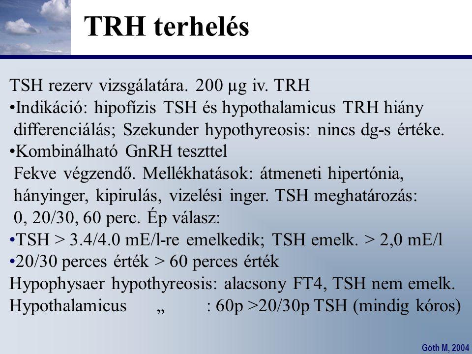 Góth M, 2004 TRH terhelés TSH rezerv vizsgálatára. 200 µg iv. TRH Indikáció: hipofízis TSH és hypothalamicus TRH hiány differenciálás; Szekunder hypot