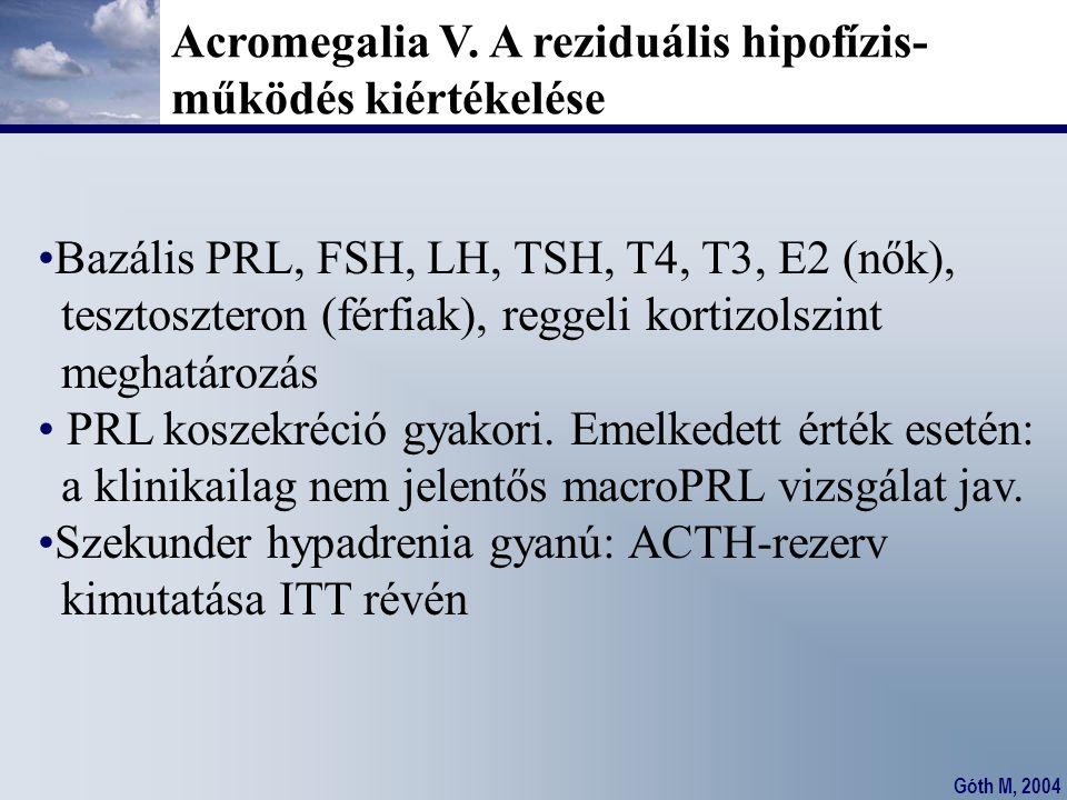 Góth M, 2004 Acromegalia V. A reziduális hipofízis- működés kiértékelése Bazális PRL, FSH, LH, TSH, T4, T3, E2 (nők), tesztoszteron (férfiak), reggeli