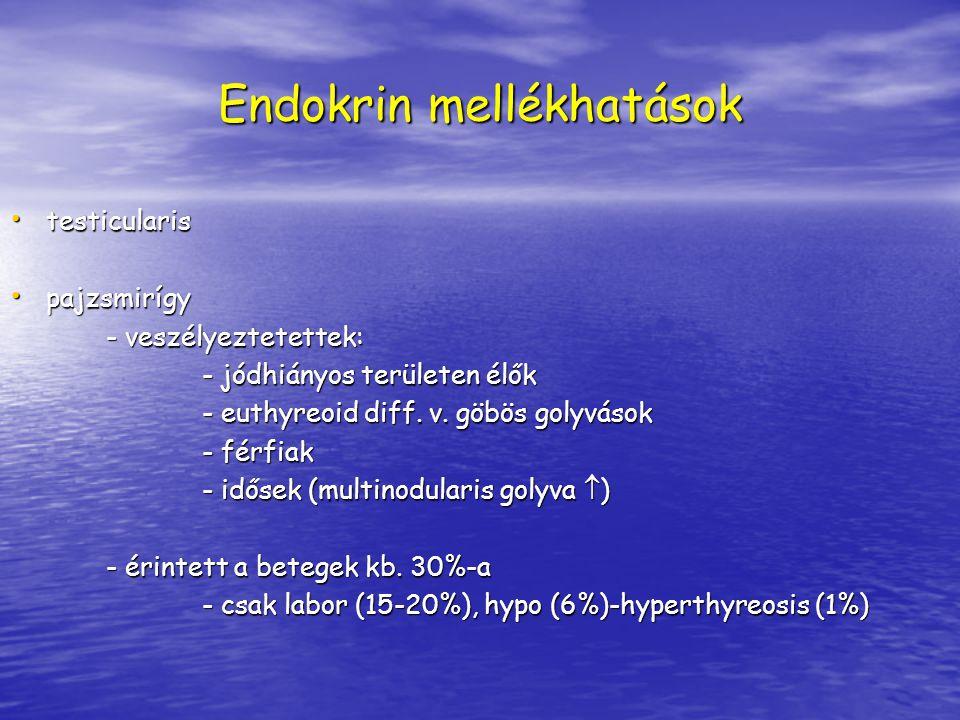 Endokrin mellékhatások testicularis testicularis pajzsmirígy pajzsmirígy - veszélyeztetettek: - veszélyeztetettek: - jódhiányos területen élők - euthy