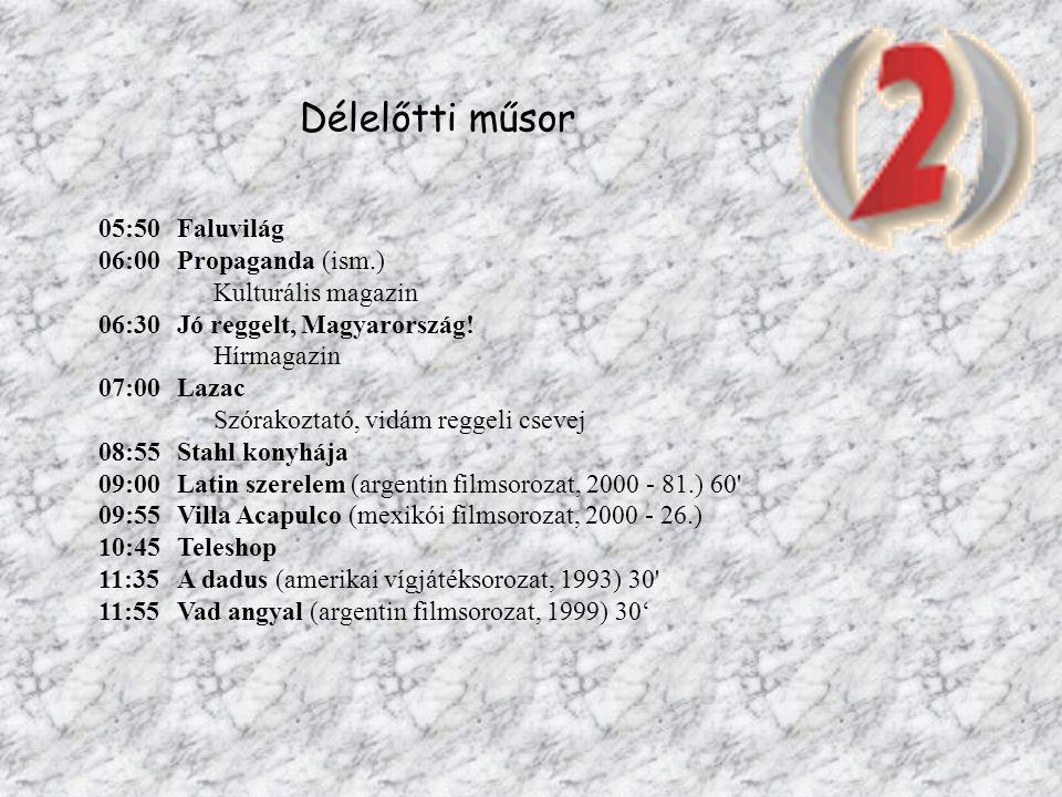 Délelőtti műsor 05:50Faluvilág 06:00Propaganda (ism.) Kulturális magazin 06:30Jó reggelt, Magyarország! Hírmagazin 07:00Lazac Szórakoztató, vidám regg