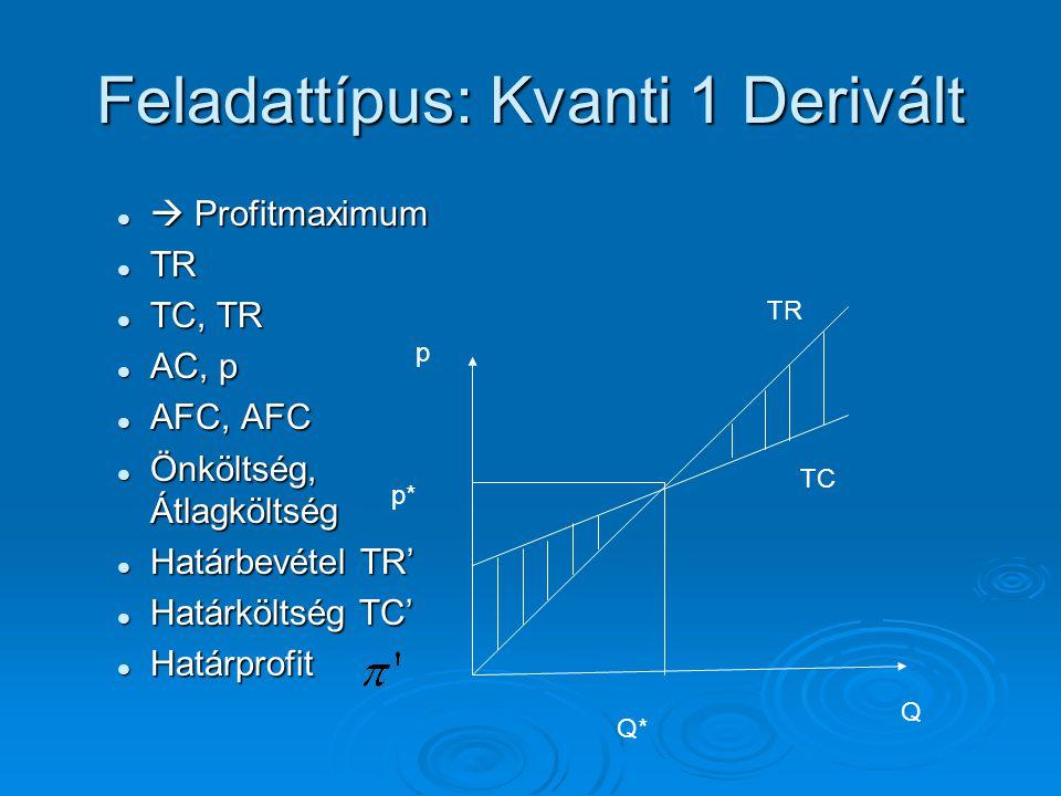 Feladattípus: Kvanti 2  Jelenérték PV PV =mé(r;t;C;FV;típus) =mé(r;t;C;FV;típus)  Jövőérték FV FV =jbé(r;t;C;PV;típus) =jbé(r;t;C;PV;típus)  Egyéb függvények =ráta() =ráta() =per.szám() =per.szám()