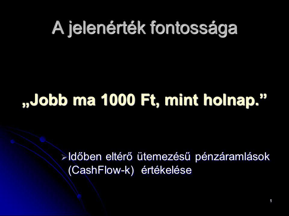 """1 A jelenérték fontossága """"Jobb ma 1000 Ft, mint holnap.""""  Időben eltérő ütemezésű pénzáramlások (CashFlow-k) értékelése"""