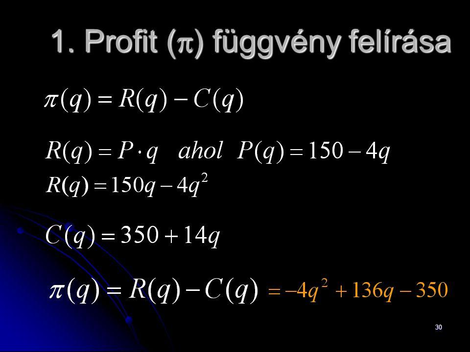30 1. Profit (  ) függvény felírása
