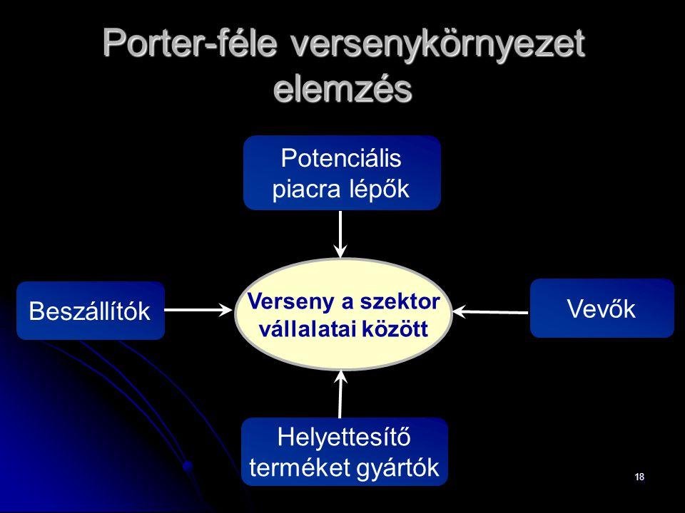 18 Porter-féle versenykörnyezet elemzés Verseny a szektor vállalatai között BeszállítókVevők Potenciális piacra lépők Helyettesítő terméket gyártók