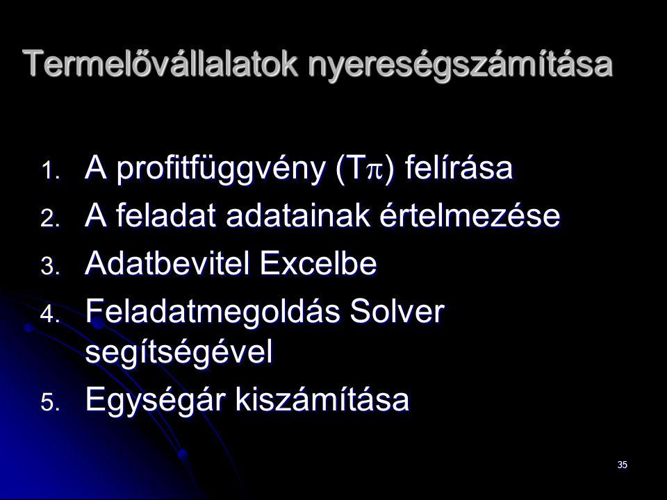 35 1.A profitfüggvény (T  ) felírása 2. A feladat adatainak értelmezése 3.