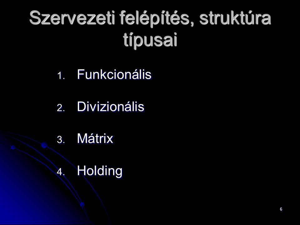 6 Szervezeti felépítés, struktúra típusai 1. Funkcionális 2. Divizionális 3. Mátrix 4. Holding