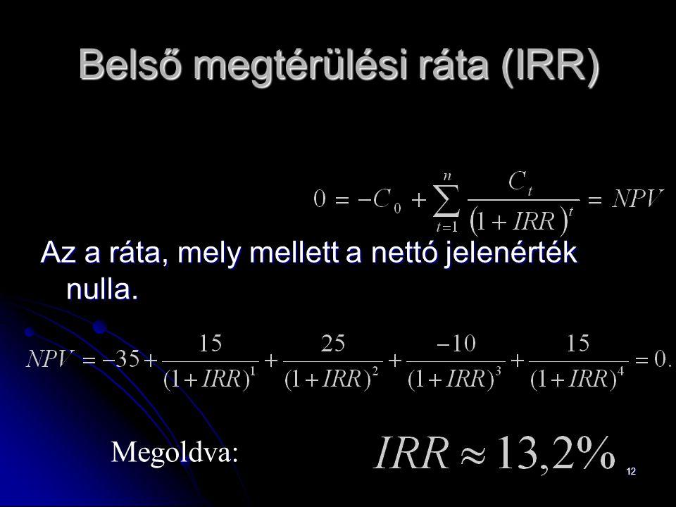 12 Belső megtérülési ráta (IRR) Az a ráta, mely mellett a nettó jelenérték nulla. Megoldva: