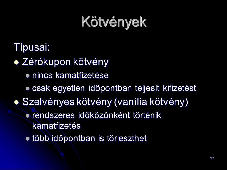 19 Kötvények Típusai: Zérókupon kötvény Zérókupon kötvény nincs kamatfizetése nincs kamatfizetése csak egyetlen időpontban teljesít kifizetést csak eg