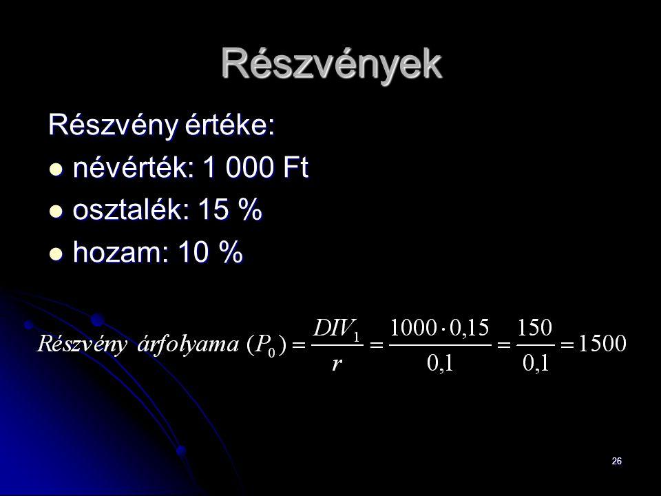 26 Részvények Részvény értéke: névérték: 1 000 Ft névérték: 1 000 Ft osztalék: 15 % osztalék: 15 % hozam: 10 % hozam: 10 %