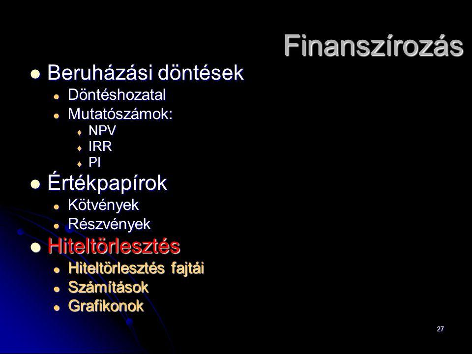 27 Finanszírozás Beruházási döntések Beruházási döntések Döntéshozatal Döntéshozatal Mutatószámok: Mutatószámok:  NPV  IRR  PI Értékpapírok Értékpa