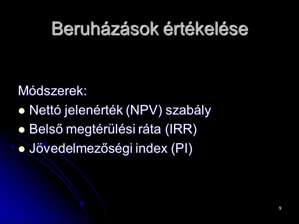 9 Beruházások értékelése Módszerek: Nettó jelenérték (NPV) szabály Nettó jelenérték (NPV) szabály Belső megtérülési ráta (IRR) Belső megtérülési ráta