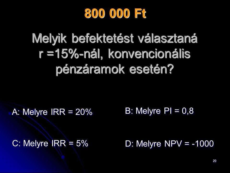 20 Melyik befektetést választaná r =15%-nál, konvencionális pénzáramok esetén.