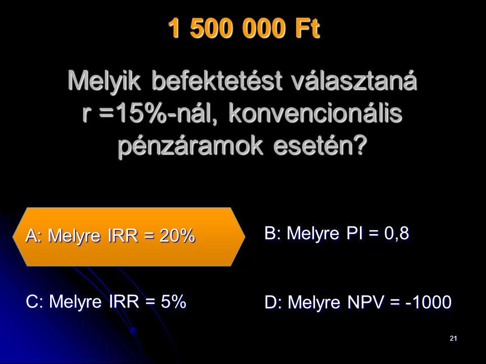 21 Melyik befektetést választaná r =15%-nál, konvencionális pénzáramok esetén.