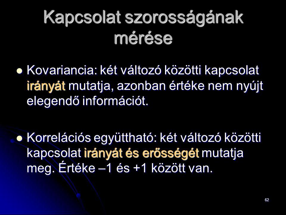 62 Kapcsolat szorosságának mérése Kovariancia: két változó közötti kapcsolat irányát mutatja, azonban értéke nem nyújt elegendő információt.