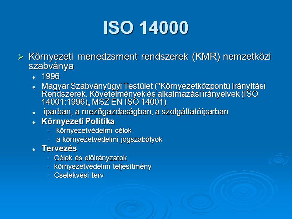 ISO 14000  Környezeti menedzsment rendszerek (KMR) nemzetközi szabványa 1996 1996 Magyar Szabványügyi Testület ( Környezetközpontú Irányítási Rendszerek.